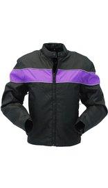 Purple Stripe Textile Motorcycle Jacket for Women #LC2271ZRPU
