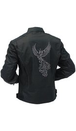 Phoenix Embroidered Women's Textile Motorcycle Jacket w/Vents #LC3598ZRK (L-4X)