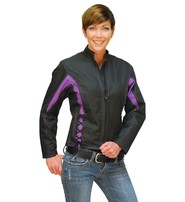 Purple Trim Nylon Motorcycle Jacket for Women #LC44317PUR