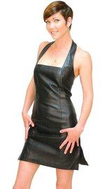 Jamin Leather Black Lambskin Leather Halter Dress #LD75