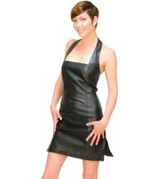 Jamin Leather Black Lambskin Leather Halter Dress #LD75