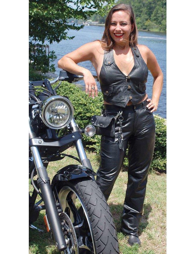 Jamin Leather Lambskin Button Down Pocket Halter #LH10120BTK