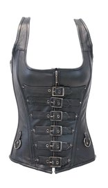 Long Body 6 Buckle Leather Corset w/Boning #LH1318BUCK