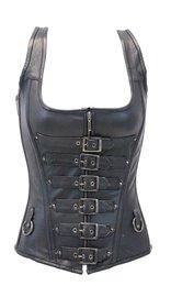 Long Body 6 Buckle Leather Corset w/Boning #LH1318BUCK