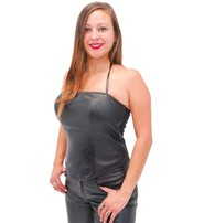 Jamin Leather Leather Halter Top w/Built in Support #LH2083SK