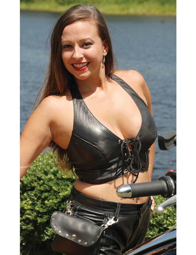 Jamin Leather Leather Halter Top w/Long Lace Front #LH26L