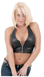 Jamin Leather Lambskin Leather Zip Halter #LH3019Z