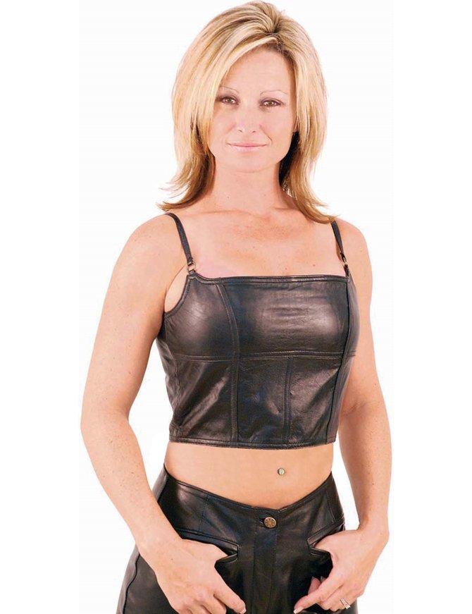 Black Lambskin Leather Cropped Tank Top #LH520K
