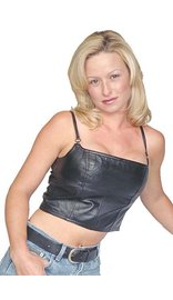 Black Lambskin Leather Cropped Tank Top #LH520K (M-XL)