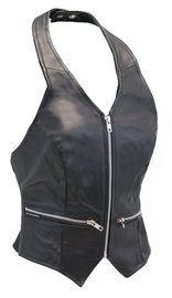 Zip Front Black Leather Halter Vest #LH5231ZK