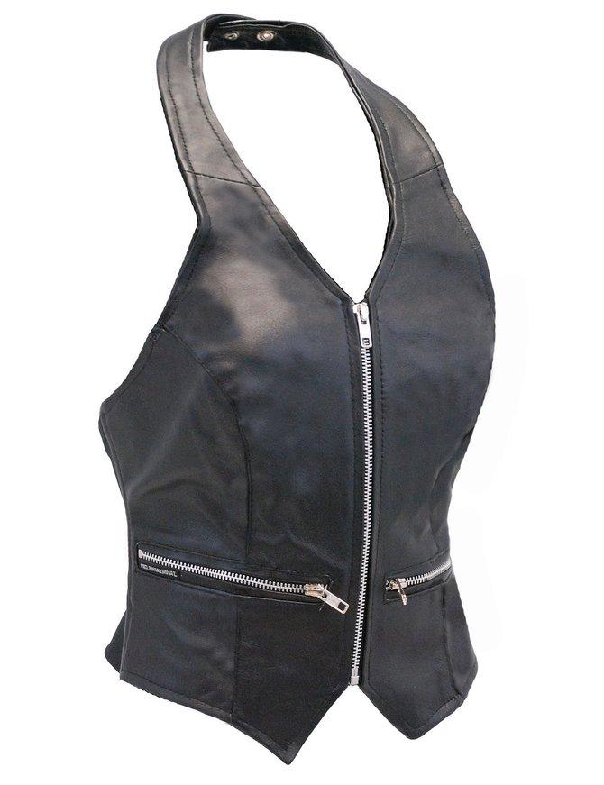 Zip Front Black Leather Halter Vest #LH5231ZK