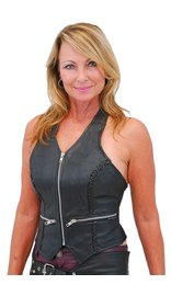 Jamin Leather Zipper Braid Leather Halter Vest #LH523BZ