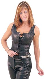 Jamin Leather Black Lambskin Lace Up Leather Corset #LH821LL