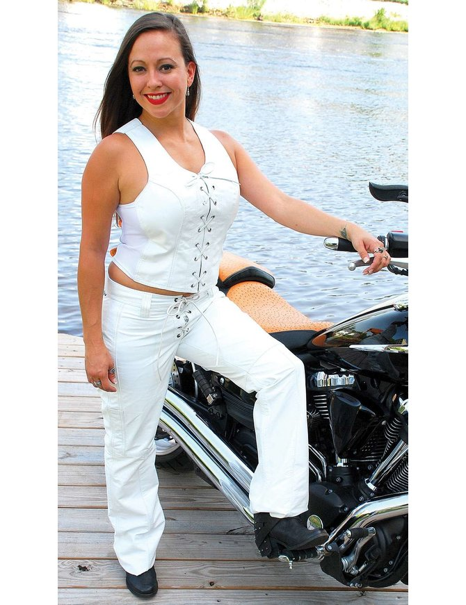 Jamin Leather White Leather Corset w/Lace Up Front #LH821LW