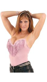 Dream Pink Leather Fringe & Bead Padded Tank Top #LH951FBP