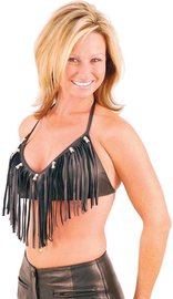 Jamin Leather Fringe & Bead Leather Halter #LH9073FBK