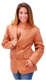 Womens Tall Light Brown Two Button Lambskin Leather Blazer #L-M1120BTN