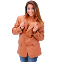 Women's Tall Light Brown Two Button Lambskin Leather Blazer #L-M1120BTN