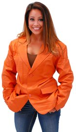Tall Womens Mango Two Button Lambskin Leather Blazer #L-M1121BTO (L-2X)