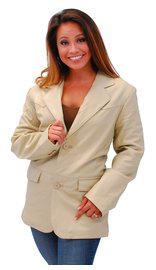 Tall Womens Cream Beige Two Button Lambskin Leather Blazer #L-M1123BTT (L-2X)