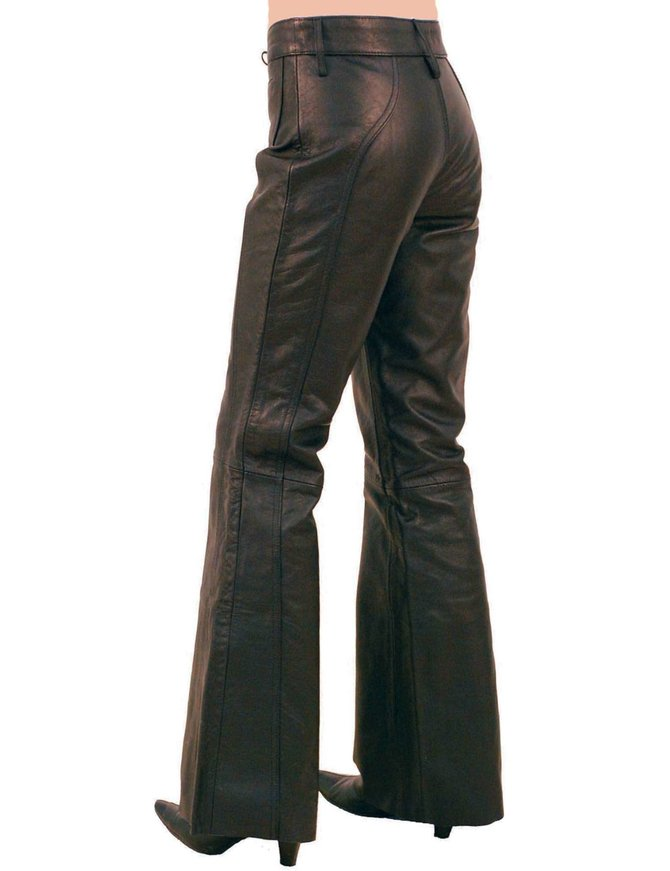 Jamin Leather Bell Bottom Lace Up Leather Pants for Women #LP2071LK