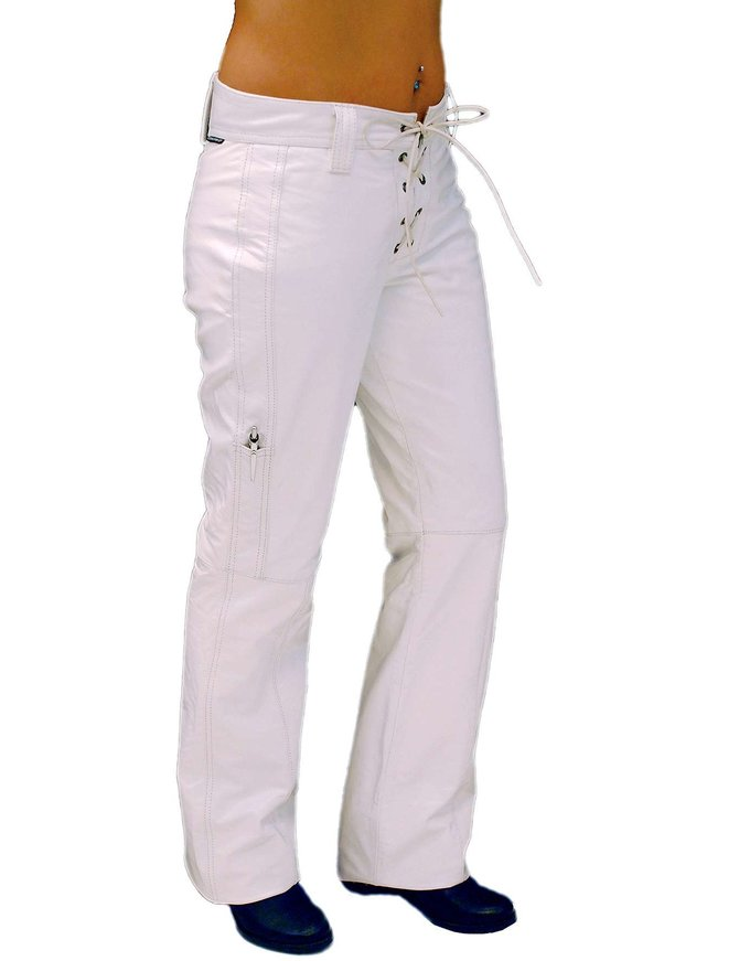 Jamin Leather Lace Up White Leather Pants for Women #LP504LW