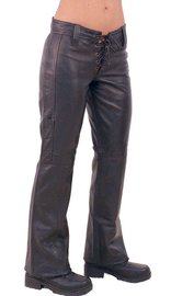 Jamin Leather Bell Bottom Lace Up Leather Pants #LP505LL (4-16)