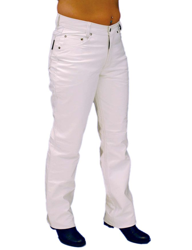 Jamin Leather White Leather Pants for Women #LP710W
