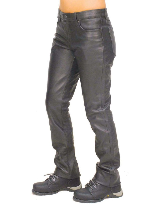 First MFG Women's Mid-Rise Premium Cowhide Leather Pants #LP711K