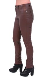 Brown Faux Leather Stretch Skinny Jeans #LPC10572N (S-M)