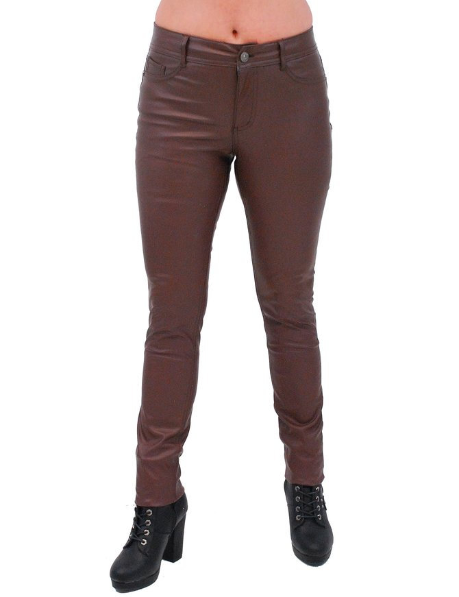 Brown Faux Leather Stretch Skinny Jeans #LPC10572N