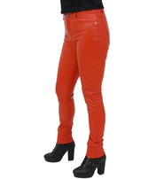 Cognac Faux Leather Stretch Skinny Jeans #LPC10573T