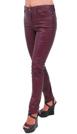 Burgundy Faux Leather Stretch Skinny Jeans #LPC1057BG (S-M)
