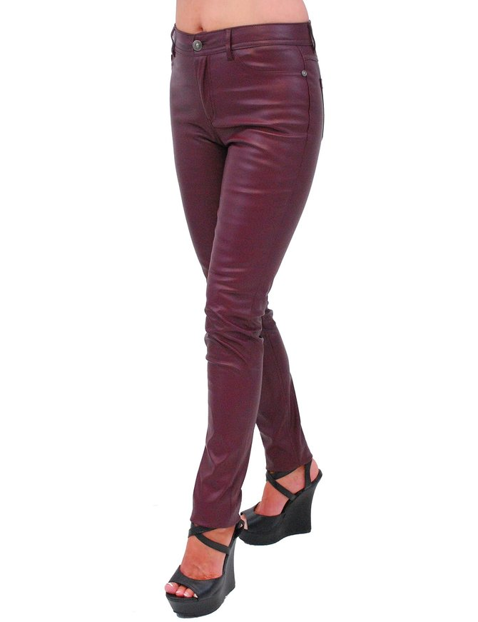 Burgundy Faux Leather Stretch Skinny Jeans #LPC1057BG