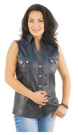 Jamin Leather Women's Sleeveless Black Leather Shirt #LS10121K