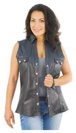 Jamin Leather Women's Sleeveless Black Leather Shirt #LS10121K (S-3X)