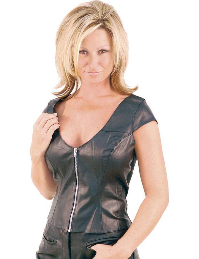 Jamin Leather Cap Sleeve Leather Shirt for Women #LS39ZLK