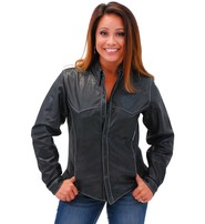 Jamin Leather Women's Lightweight Naked Leather Shirt w/White Stitching #LS431GWK