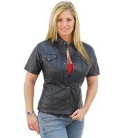 Jamin Leather Women's Short Sleeve Leather Shirt #LS864K