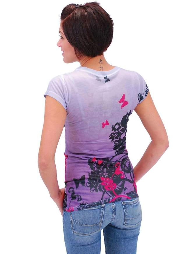 Purple Butterfly Crystal T-Shirt #LSC257BUT