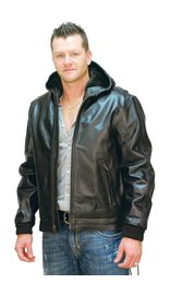 Jamin Leather Men's Fur Lined Jacket w/ Hood #M01101HHK