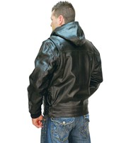 Jamin Leather Men's Fur Lined Jacket w/ Hood #M01101HHK