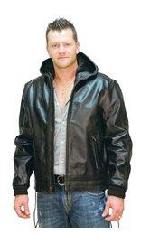 Jamin Leather Men's Fur Lined Jacket w/ Hood #M01101HHK (L-3X)