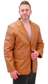 Light Brown Two Button Lambskin Leather Blazer #M1120BTN (S-L)