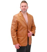 Light Brown Two Button Lambskin Leather Blazer #M1120BTN