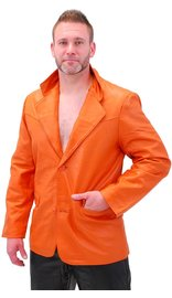 Mango/Orange Two Button Lambskin Leather Blazer #M1121BTO
