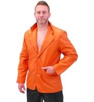 Mango/Orange Two Button Lambskin Leather Blazer #M1121BTO