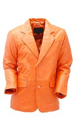 Mango/Orange Two Button Lambskin Leather Blazer #M1121BTO (S-XL)