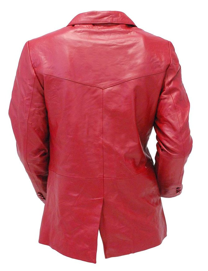 Burgundy Two Button Lambskin Leather Blazer #M1122BTBG