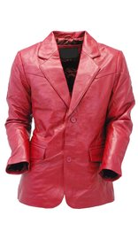 Burgundy Two Button Lambskin Leather Blazer #M1122BTBG (S-L)